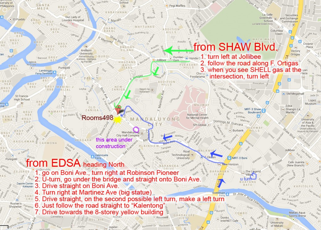 fromSHAW or EDSA to Rooms498