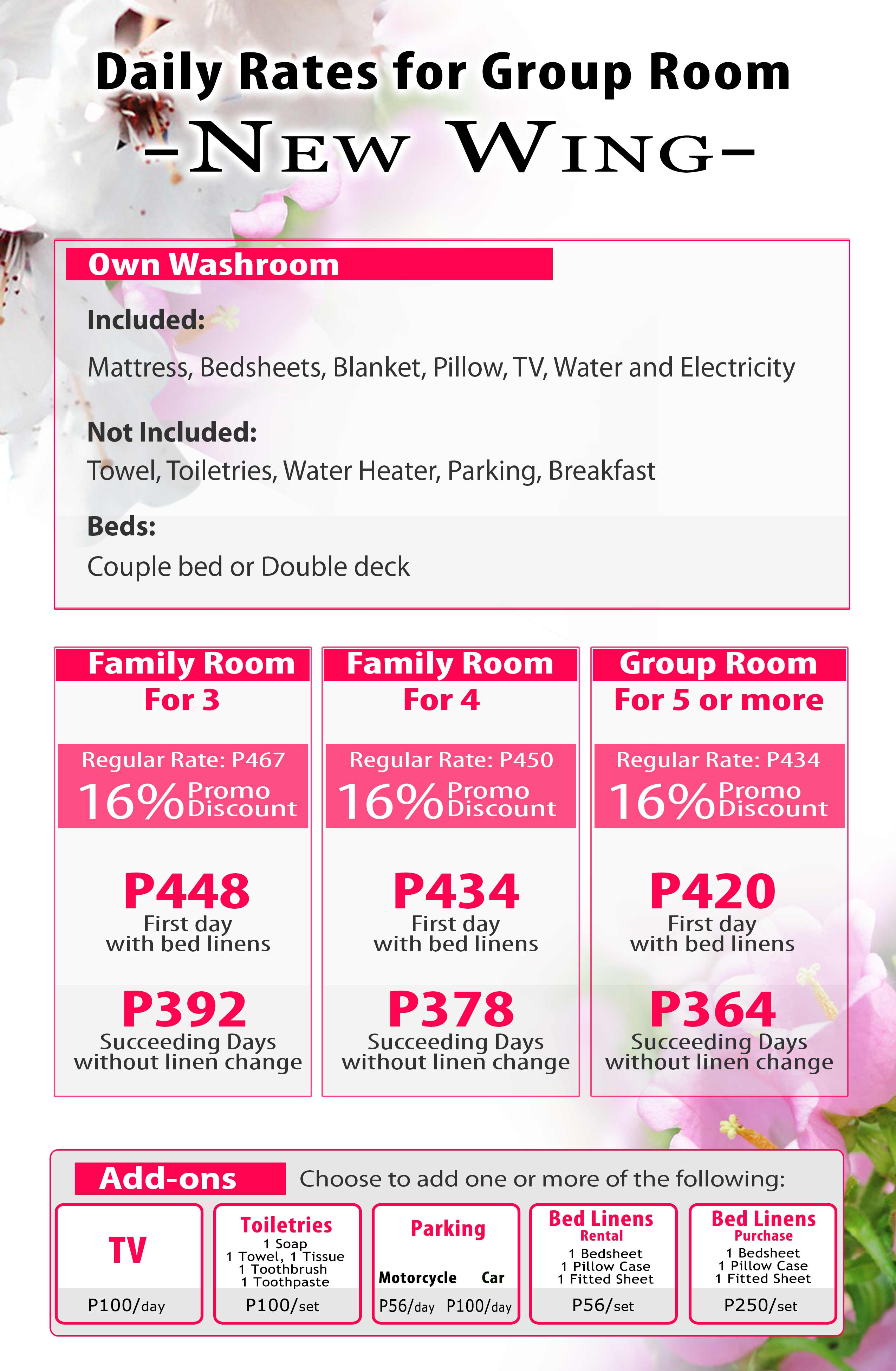 Daily Monthly Room Rentals P350 per person per day www.roomsforrent.ph rooms498
