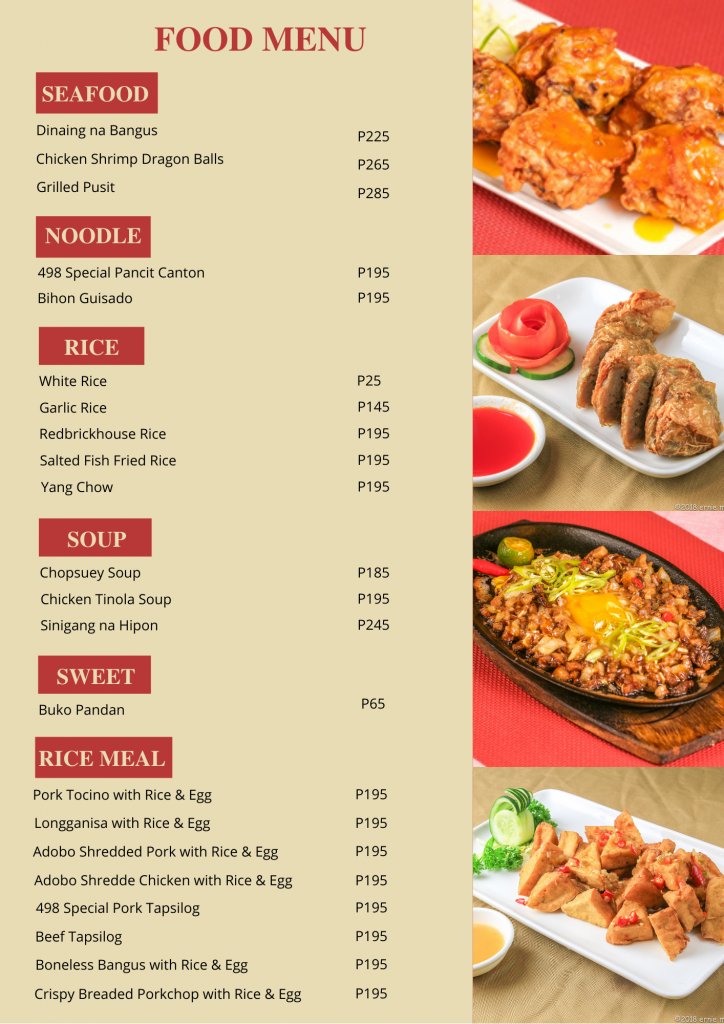 Food Menu - Rooms for Rent-Accommodation-Food-Cafeteria-roomsforrent.ph
