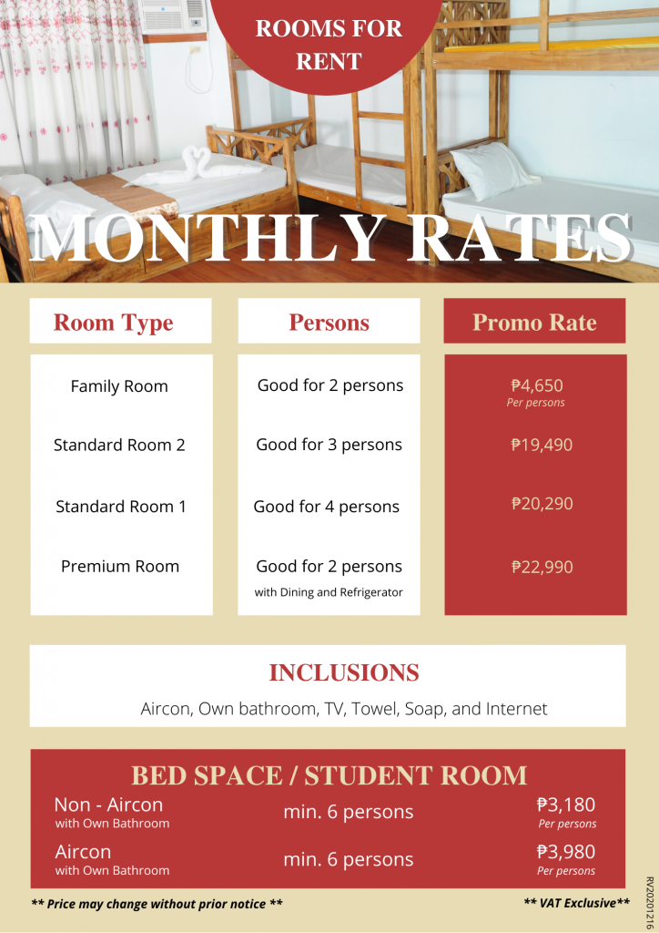 Price List - Rooms for Rent-Accommodation-Daily-Monthly
